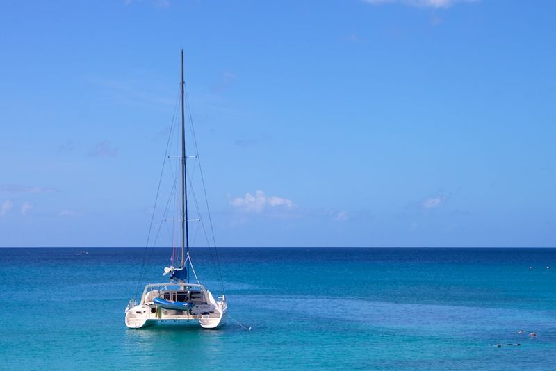 A catamaran in Reeds Bay