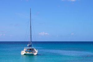 A catamaran in Reeds Bay
